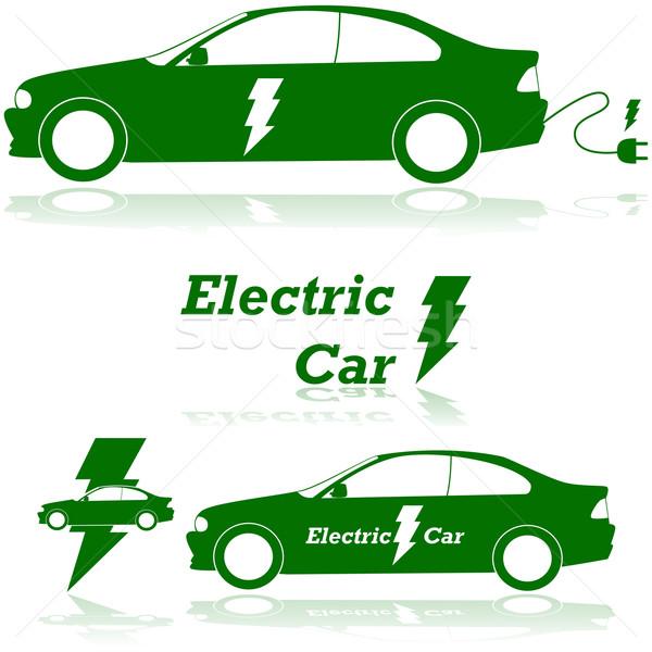 Elektrische auto illustratie tonen elektrische plug Stockfoto © bruno1998