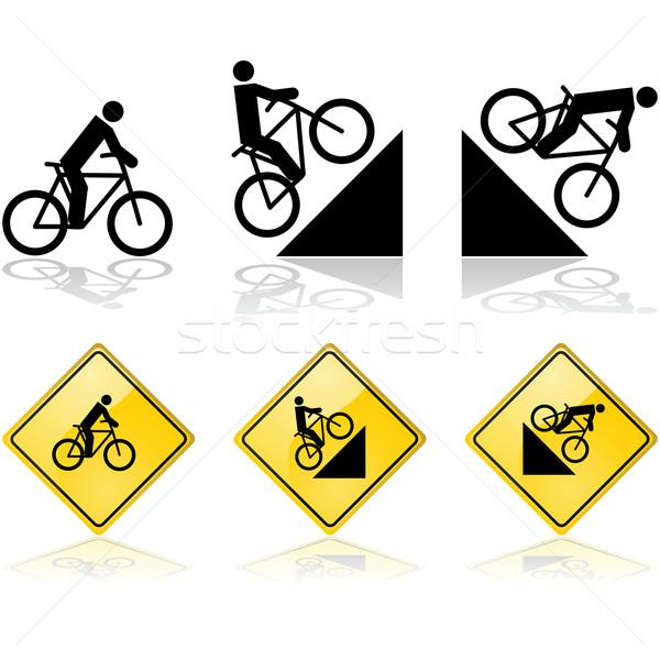 Bicikli feliratok mutat személy lovaglás terep Stock fotó © bruno1998