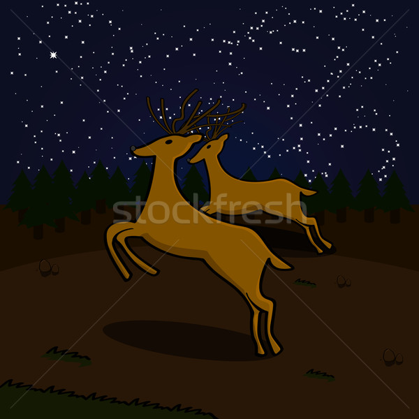 Reindeers on a field at night Stock photo © bruno1998