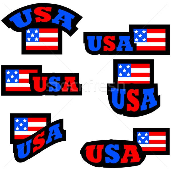 Stock fotó: USA · gombok · gyűjtemény · jelvények · stilizált · amerikai · zászló