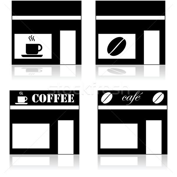 Coffeeshop tonen vier verschillend teken Stockfoto © bruno1998