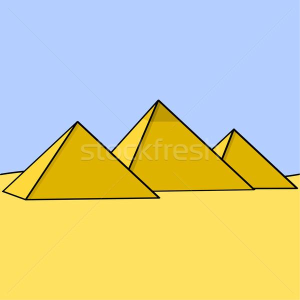 Egipcjanin piramidy cartoon ilustracja trzy Zdjęcia stock © bruno1998