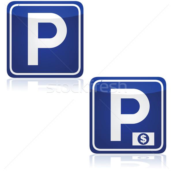 Parkolás forgalom feliratok mindkettő fizetett felirat Stock fotó © bruno1998