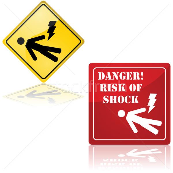 Pericolo shock set due segni Foto d'archivio © bruno1998