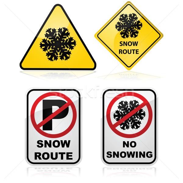 Foto stock: Neve · rota · sinais · tráfego