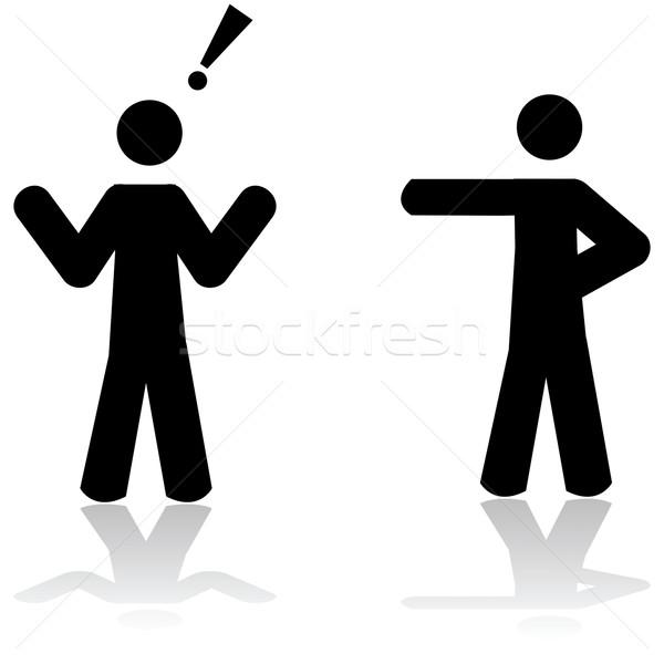 обвинение иллюстрация человека указывая другой Сток-фото © bruno1998