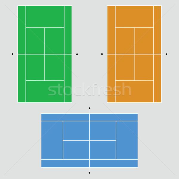 Quadra de tênis ilustração três diferente arte verde Foto stock © bruno1998