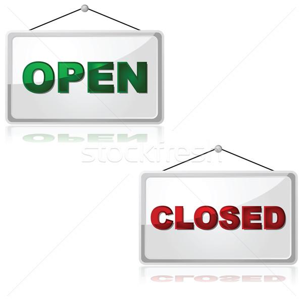 Open chiuso segni lucido illustrazione Foto d'archivio © bruno1998
