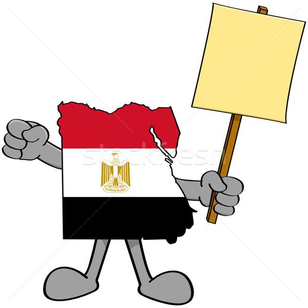 Egyiptom tiltakozás illusztráció mutat térkép tart Stock fotó © bruno1998