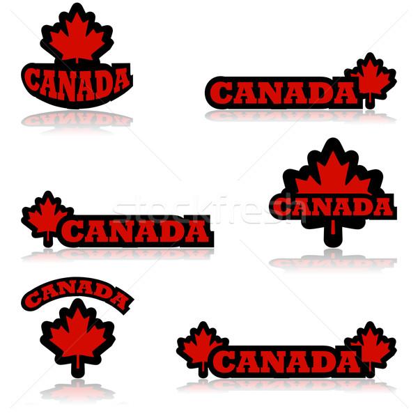 カナダ アイコン コレクション 赤 カエデの葉 言葉 ストックフォト © bruno1998