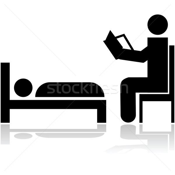 Cuento ilustración persona lectura feliz Foto stock © bruno1998