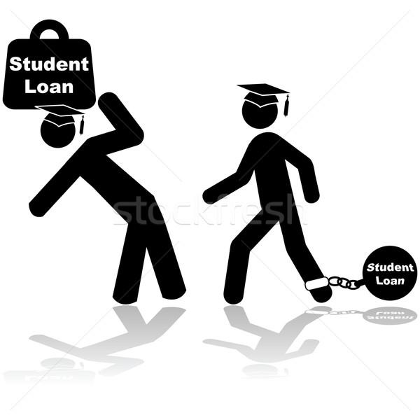 студент заем икона иллюстрация пару Сток-фото © bruno1998
