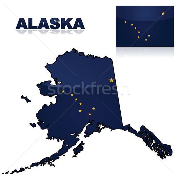 Mappa bandiera Alaska set americano Foto d'archivio © bruno1998