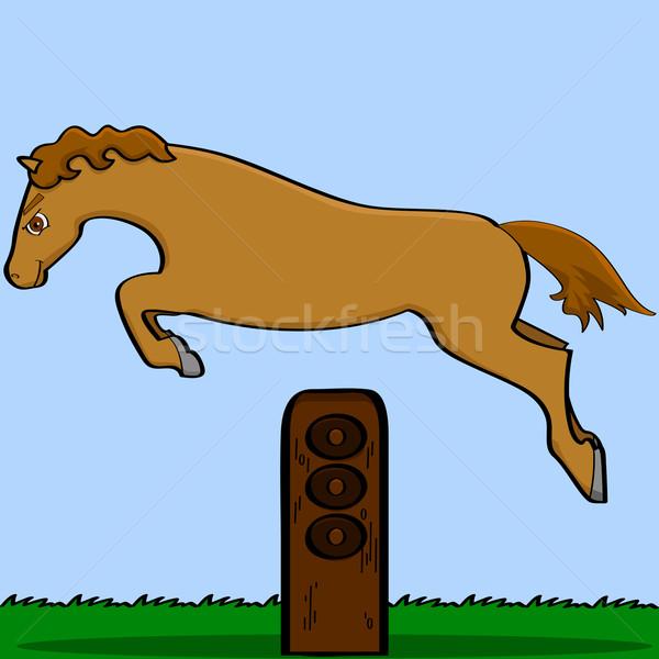 Cartoon caballo saltar obstáculo ilustración Foto stock © bruno1998