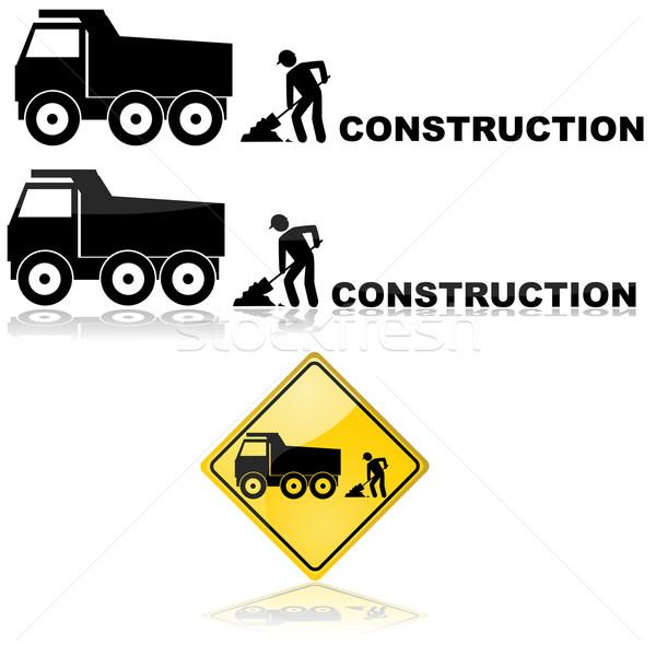 építkezés felirat ikon mutat teherautó munkás Stock fotó © bruno1998