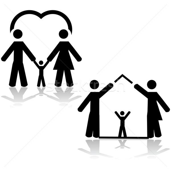 Vita di famiglia illustrazione amore due genitori Foto d'archivio © bruno1998