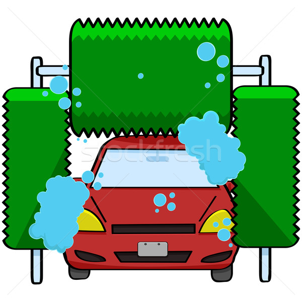 Car wash cartoon illustratie auto binnenkant machine Stockfoto © bruno1998