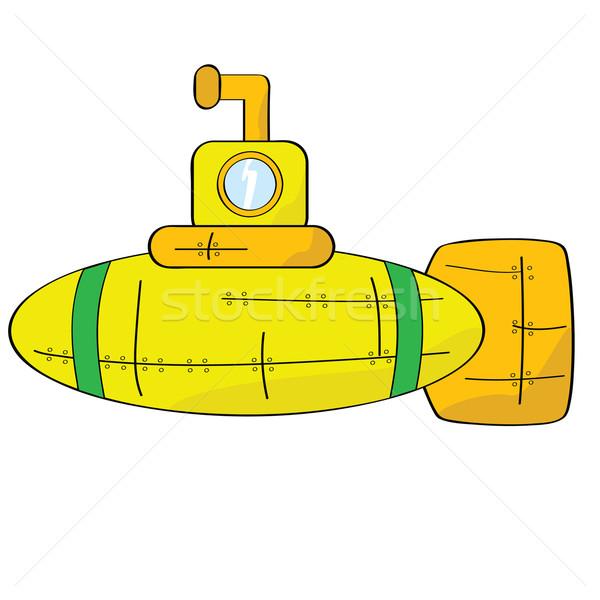 желтый подводная лодка Cartoon иллюстрация оранжевый зеленый Сток-фото © bruno1998