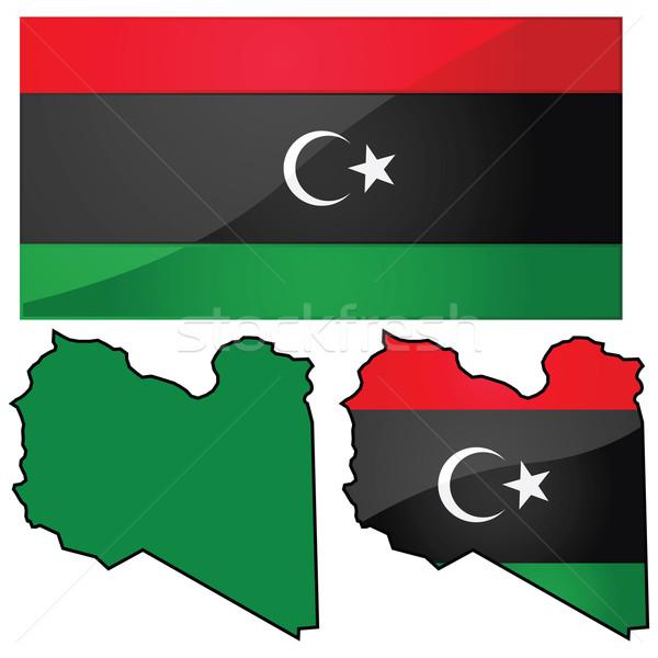 Map and flag of Libya Stock photo © bruno1998