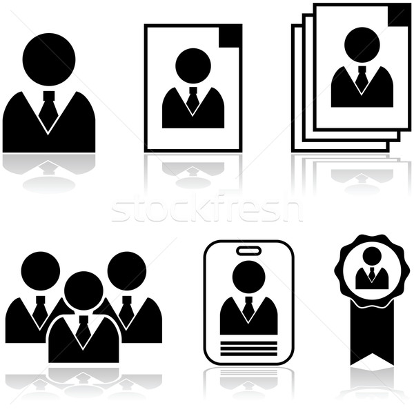 új alkalmazott ikon gyűjtemény mutat különböző férfi Stock fotó © bruno1998