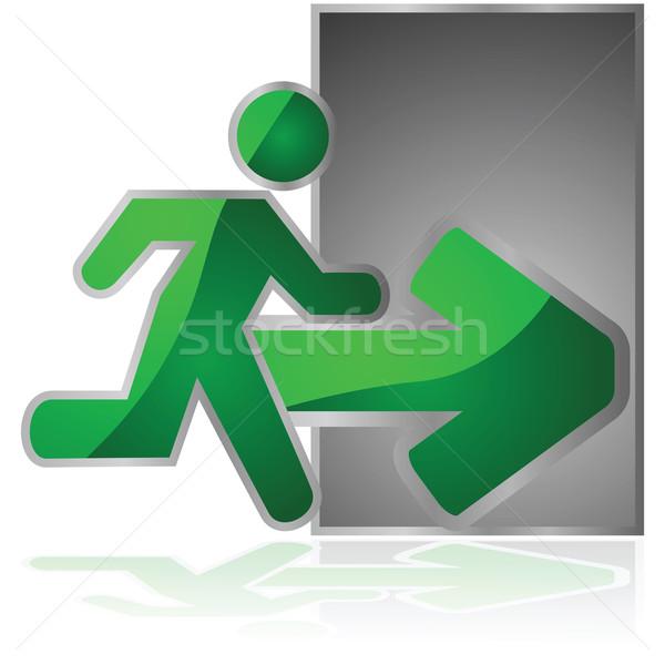 Exit sign glänzend Illustration Mann läuft Stock foto © bruno1998