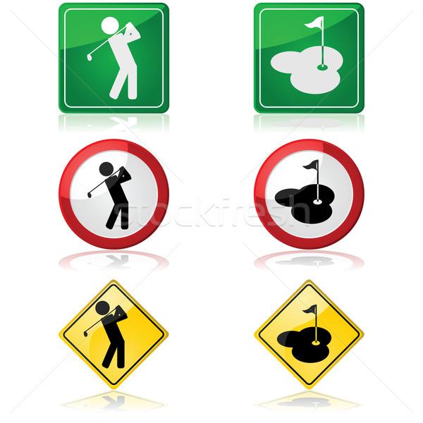 Golf trafik işaretleri kişi golf Stok fotoğraf © bruno1998