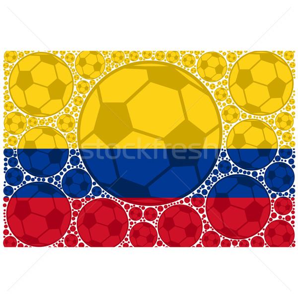 Colombia futball golyók illusztráció mutat zászló Stock fotó © bruno1998