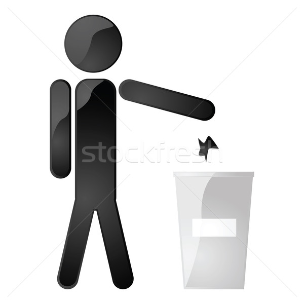 мусорный ящик иллюстрация человека мусора Сток-фото © bruno1998