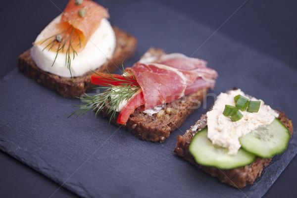 サンドイッチ マグロ チーズ プロシュート ストックフォト © BrunoWeltmann