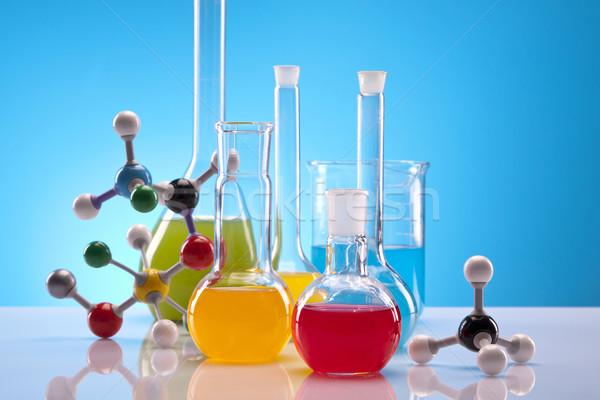 Színes laboratórium gyógyszer piros labor vegyi Stock fotó © BrunoWeltmann