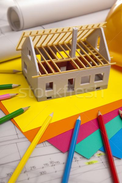Blueprints travaux outils maison bâtiment construction Photo stock © BrunoWeltmann