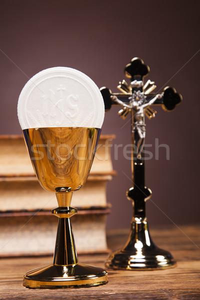 Nesneler İncil ekmek şarap kan Stok fotoğraf © BrunoWeltmann