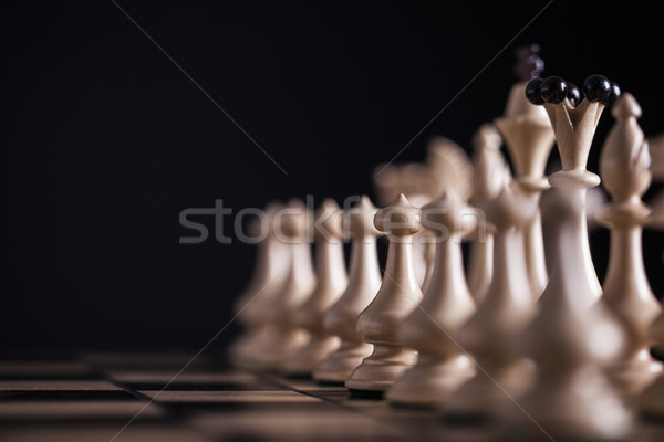 Chess. White pawns vs black Stock photo © BrunoWeltmann