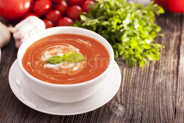 Lezzetli domates çorbası aromatik baharatlar ahşap masa Stok fotoğraf © BrunoWeltmann