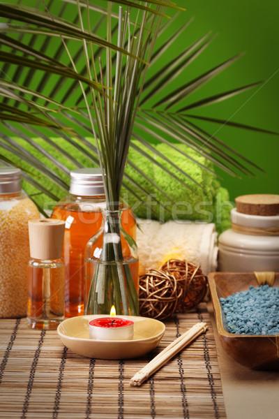 Spa güzellik lezzet yağlar sağlık yeşil Stok fotoğraf © BrunoWeltmann