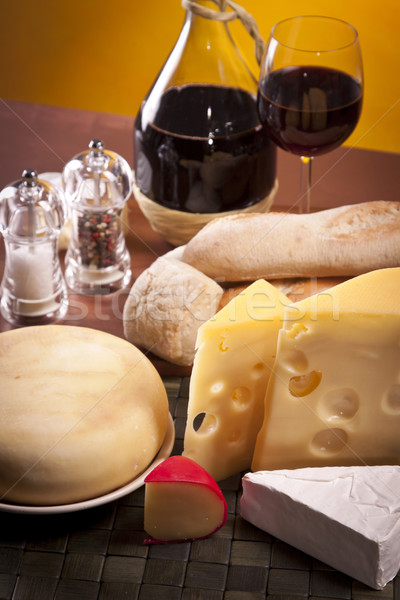 Stockfoto: Kaas · wijn · voedsel · hout · groep · boerderij