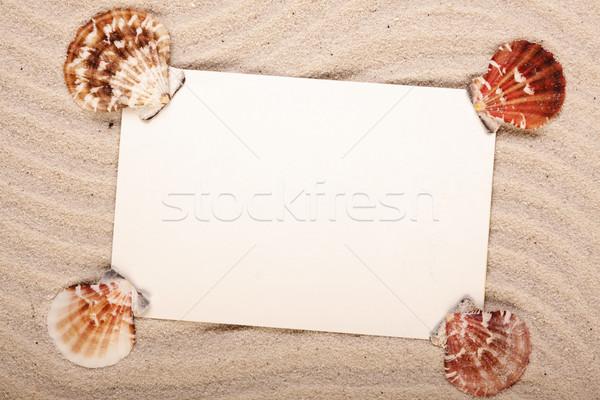 Merhaba plaj mesaj kâğıt doğa dizayn Stok fotoğraf © BrunoWeltmann