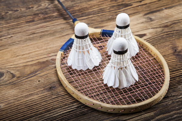 Stock photo: A set of badminton. Paddle and the shuttlecock.
