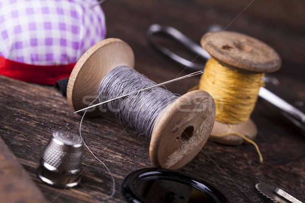 Sewing instruments, threads, needles in vintaae style Stock photo © BrunoWeltmann