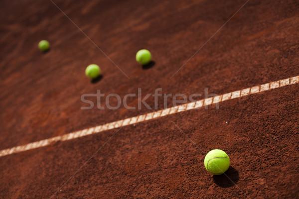 Tennisbal lijn hoek rechter sport basketbal Stockfoto © BrunoWeltmann
