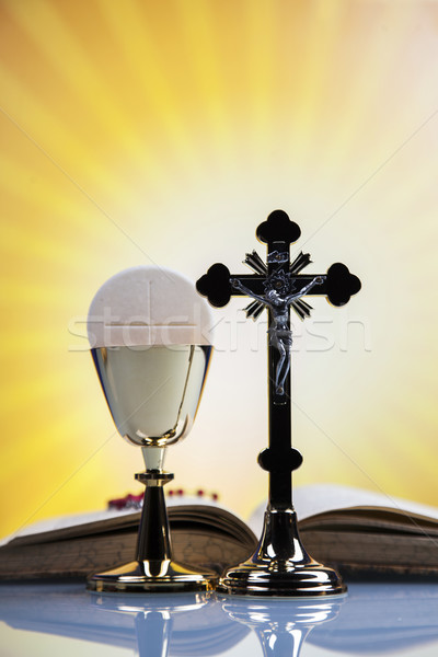 Christian religion, wine, bread and the word of God Stock photo © BrunoWeltmann