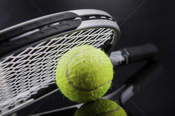 Szett teniszütő labda stúdiófelvétel tenisz stúdió Stock fotó © BrunoWeltmann