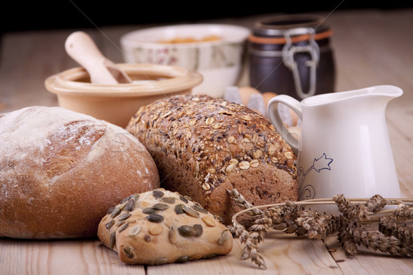 Bakkerij brood melk eieren tarwe goud Stockfoto © BrunoWeltmann