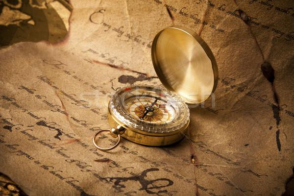 ストックフォト: 古い · マップ · コンパス · 紙 · 世界 · 背景