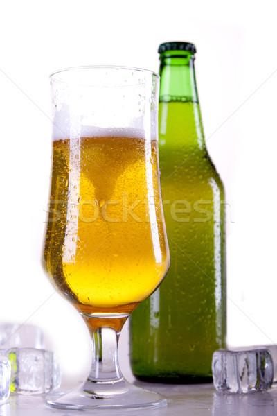 Chilled beer on white background Stock photo © BrunoWeltmann