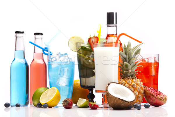 Stock photo: Exotic alcohol drinks set with fruits
