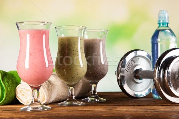 Alimentation saine protéines fruits sport fitness eau Photo stock © BrunoWeltmann