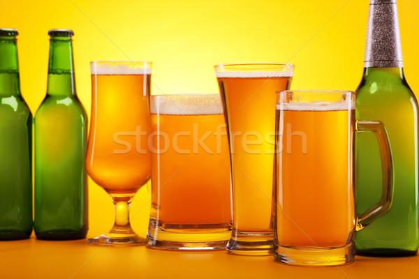 Cerveja amarelo festa bar garrafa ouro Foto stock © BrunoWeltmann