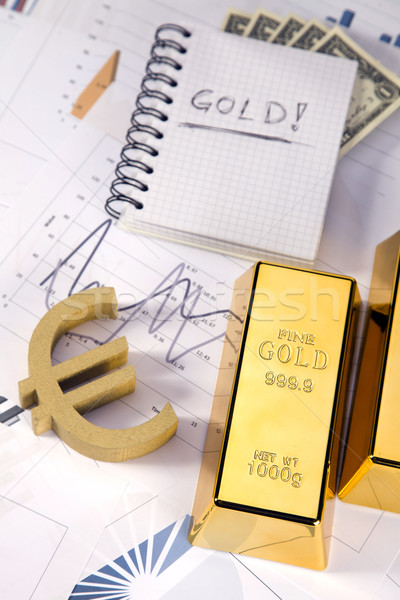 Gold Bars Graphen Statistik Geld Metall Stock foto © BrunoWeltmann