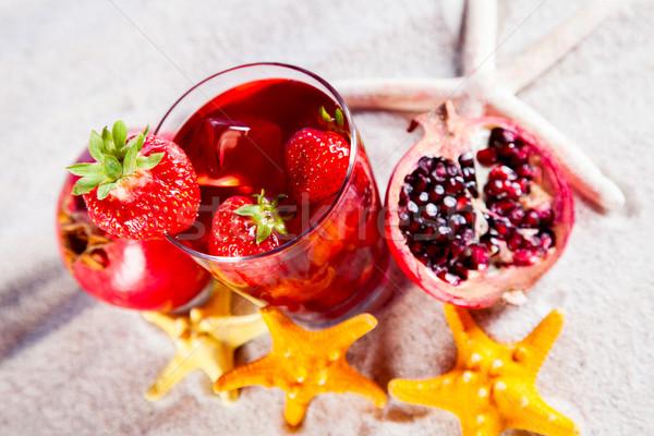 Tropical drinks on beach Stock photo © BrunoWeltmann
